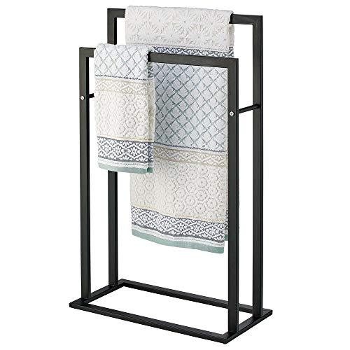 mDesign Tall Modern Metal Freestanding Towel Rack Holder - 2 Tier Organizer for Bathroom Storage and Organization Next to Tub or Shower, Holds Bath & Hand Towels, Washcloths - Matte Black