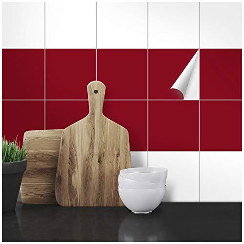 Wandkings Fliesenaufkleber - Wähle eine Farbe & Größe - Weinrot Seidenmatt - 15 x 15 cm - 20 Stück für Fliesen in Küche, Bad & mehr