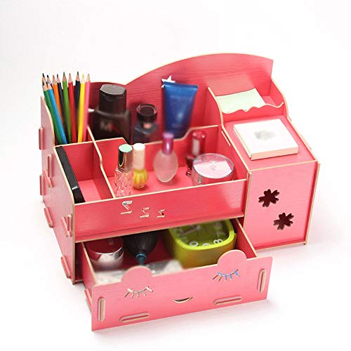 GFDFD Caja de almacenamiento: organizador de escritorio de madera, caja de soporte for bolígrafo multifuncional, escritorio estacionario, estante de almacenamiento de suministros de oficina en el hoga