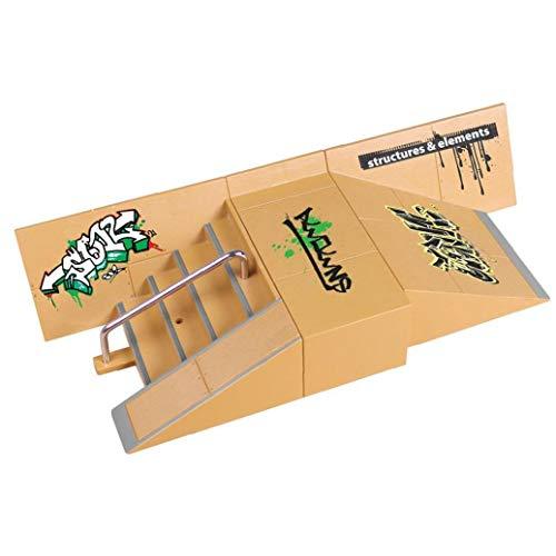 Dedo de monopatín Mini Kit Dedo Skate Park Kit de rampa de Piezas con Las Juntas de Dedo para el Dedo monopatín último Parques Formación Puntales Style-8091a 1set