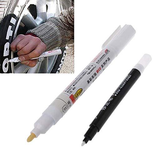 Naugust Weißer Reifenstift, 1 Satz permanenter Reifenfarbenmarkierer für Auto-, Fahrrad-, Fahrradfelgen und die meisten Anderen Oberflächen