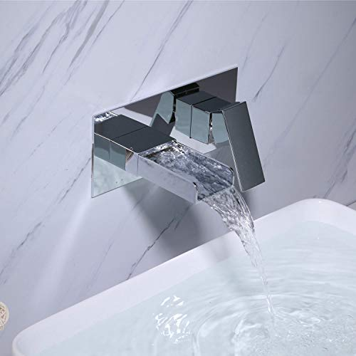 Kelelife Grifo de Lavabo Cascada Grifo Baño Mural de Pared, Cromo, Agua Fria y Caliente Disponible