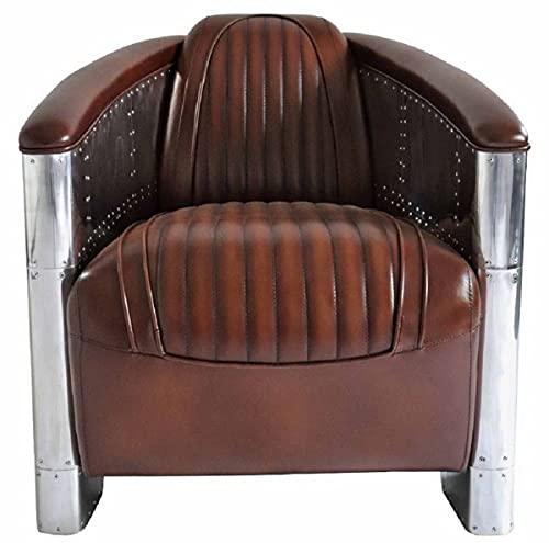Casa Padrino sillón de Cuero auténtico Art Deco de Lujo marrón Oscuro/Plata 90 x 72 x A. 68 cm - Sillón de Aluminio con Cuero Muebles sillón de Aviador de avión de Aluminio