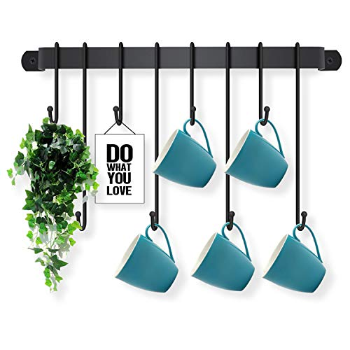 Coffee Cup Holder Wall Mounted - Coffee Cup Rack Mug Hooks in Kitchen Counter or Coffee Bar Station for Mug Display Storage or Collections Kitchen Utensils Hanger - Easy to Install