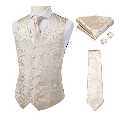 QWERBAM Seta Blu Jacquard Gilet Uomo Gilet Fazzoletto Gemelli Wedding Party Solid Suit Set Cravatta Vest Banquet (Color : MJTZ0017 JZ 01, Size : 3X-Large)