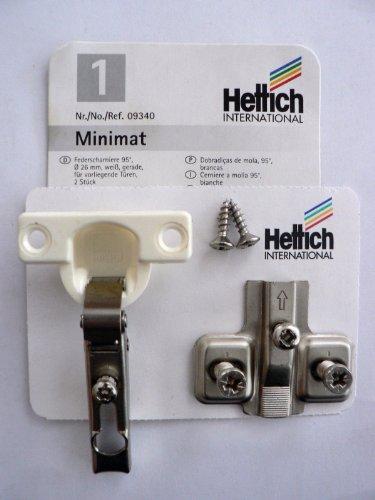 Hettich 4 Stück Minimat 1, Federscharniere, 95°, vernickelt/weiß, D: 26 mm, Kröpfung: 0 mm, für aufliegende Türen, 4 Stück, Artikelnr. 9340