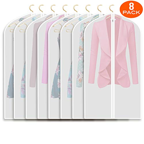 Refrze Moth Proof Garment Bags,Garment Cover,8 Pack Clear Garment Bags,Hanging Garment Bag, Dress Garment Bags for Storage or for Travel,Breathable...