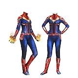 YiranYijiu Captain Marvel Superhero Suit Halloween Cosplay Costume Carol Danvers Spandex Bodysuit Zentai (Adults-M, Suit)