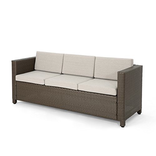 Christopher Knight Home Puerta Outdoor Wicker 3-Seater Sofa, Brown / Ceramic Grey Cushion