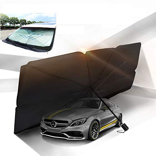 Moonshuttle Umbrella Style Portable Foldable Sunshade Car Windshield Outdoor Storage Dashboard (Large)