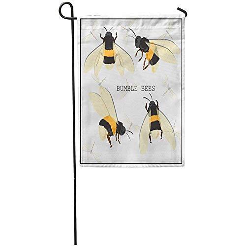 Zome Lag Tuinvlaggen Seizoen Vlag Banners 32X45.7CM Geel Zwart Bumblebee Honing Bee Insect Vliegen Plat Wit Outdoor Decoratieve Huis Yard Vlag