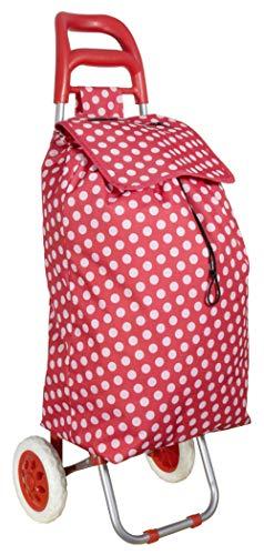 Einkaufstrolley Einkaufswagen Einkaufsroller Einkaufshilfe Rot gepunktet Trolley Einkaufskorb