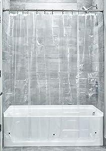 InterDesign 3.0 Liner Forro para cortina de ducha, cortinas de baño antimoho de 183,0 cm x 183,0 cm fabricadas con PEVA y con 12 ojales, transparente