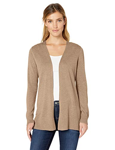 Amazon Essentials Damen-Strickjacke, leicht, mit offenem Vorderteil, Beige (Camel Heather Cam), Medium