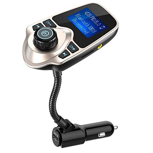 Nulaxy Bluetooth Car FM Transmitter Audio Adapter Receiver Wireless Handsfree Voltmeter Car Kit TF Card AUX 1.44 Display - KM18 Golden