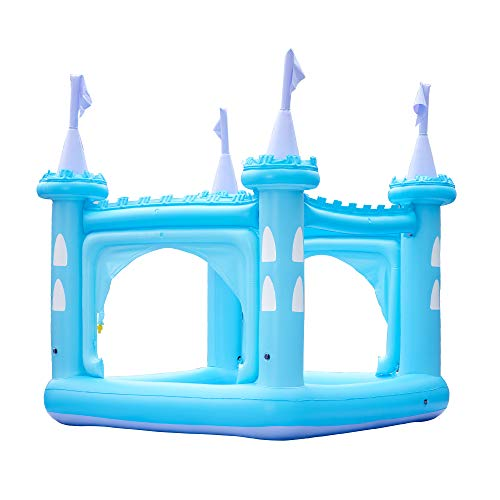 Teamson Kids Inflatable Castle Kiddie Pool Play Center with Sprinkler Blue with Pump (TK-48271B)