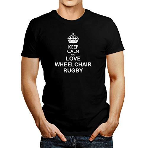 Idakoos Keep Calm and Love Rollstuhl-Rugby-T-Shirt - Schwarz - Mittel