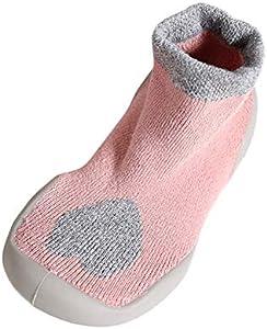 Mitlfuny Niños Niñas Invierno Otoño Zapatillas Calcetines de Piso Suela de Goma Tejer Calientes Zapatos para Bebé Primeros Pasos Arco Imprimiendo Antideslizantes Recién Nacido Bebé 0-18 Meses
