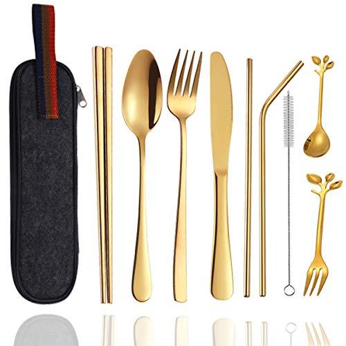 Set di posate riutilizzabili in acciaio inox con custodia, 9 pezzi di posate in metallo dorato con forchetta, coltello, cucchiaio, bacchette e cannuccia, set di posate da viaggio
