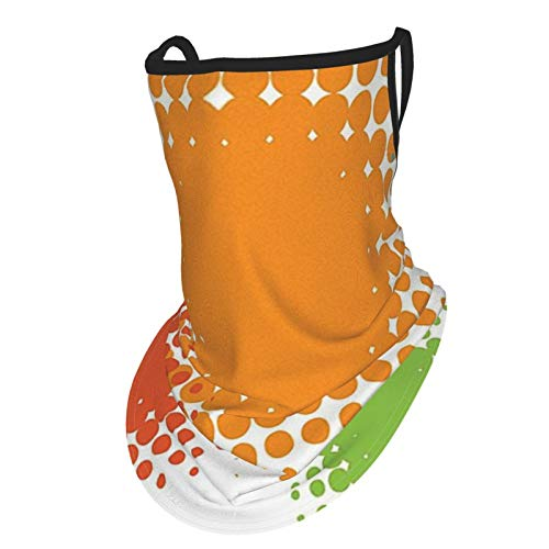 Orange Colorful Half Tone Circles With Spots On White Background Retro Design Red Orange And Blueear Hangers Uv Protection Neck Gaiter Scarf, Outdoor Headband For Fishing Cycling Hiking