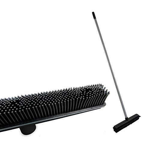PETDOM Rubber Broom for Remove Pet Hair - 47 Inch Adjustable Long Handle with 13 Inch Squeegee - Soft Indoor Broom Easy to Clean Carpet Hardwood Floor Tile (Black)