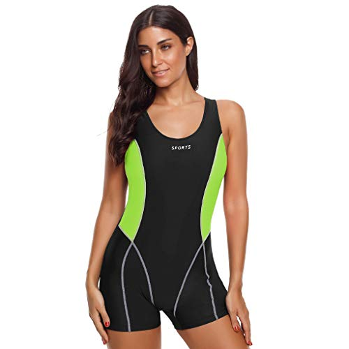 QIMANZI Badeanzug Damen Tauchanzug Active Short Sleeve Shorty Tauchanzug Surfanzug Schwimmen Tauchen Tankini Sets Schwimmen Surfen Tauchen Sport (Grün,M)