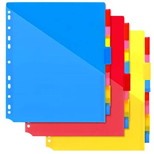 MAKHISTORY Plastic 8-Tab Dividers with Two Pockets - 3 Sets, Pocket Dividers for 3-Ring Binders, Multi-Color Binder Dividers, Total 24 Tabs