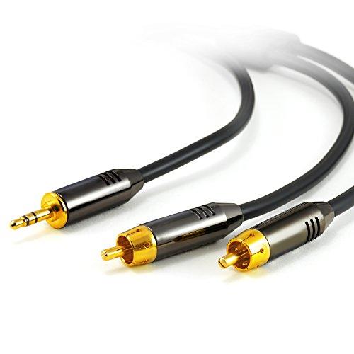 Preisvergleich Produktbild CSL 1m HQ Platinum AUX Klinkenstecker zu 2X Cinch RCA Stecker - Metall-Stecker vergoldet - Audio 3, 5mm-Anschlusskabel - AUX Eingänge Audio 3, 5mm Klinken Stecker zu 2X Cinch RCA Stecker