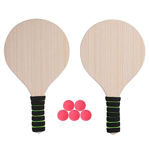 AOBAMA Juego de Pelota de Paleta, Tenis de Playa, Ping-Pong, Cricket, bádminton, Raqueta, Juego de paletas, Interior, Exterior, Raqueta (Color de Mango Aleatorio)