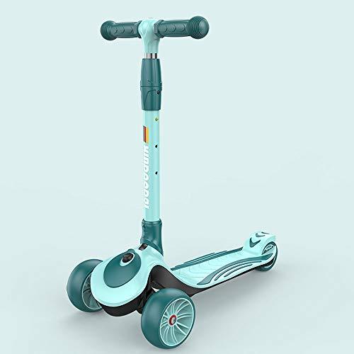 Lihgfw Scooter for Kinder Kleinkind-Scooter, faltbar und verstellbar in Höhe, Lean to Steer 3-Rad-Roller for Kleinkind-Kind-Jungen-Mädchen-Alter 3-8 (Color : Grün)