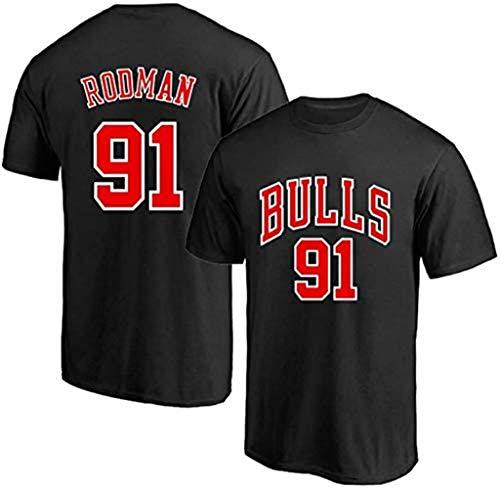 CCKWX Männer Jersey, Chicago Bulls 91# Dennis Rodman Comfortable Jersey, Cool Atmungsaktiv, Unisex Basketball-Fan Ärmel Sport-Weste-Spitze,Schwarz,M:175cm/65~75kg
