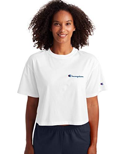 Champion Cropped Camiseta, Blanco, M para Mujer
