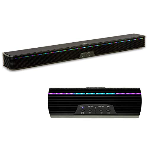 Soundbar Speaker RGB LED Light Bar with Several Colors for Perfect Sound and Entertainment System TV Wall Mount Bluetooth AUX Optical and HDMI Connection