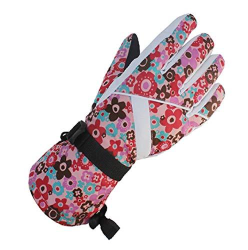 YueLian Skihandschuhe, Damen Ski Snowboard Handschuhe Winter Warm Sporthandschuhe Winddicht Wasserdicht(Bunte-Blumen)