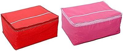 Fashion Bizz Cotton Heavy Non Woven Saree Cover Set of 2 Pcs (Capacity 10 to 15 Sarees)_Multicolour