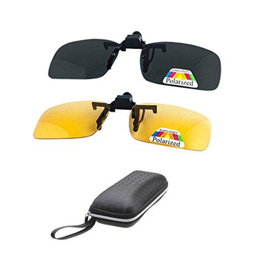 2 Paar Sonnenbrille Clip auf Flip Up Night Vision Gläser Blendschutz polarisierte für Männer Frauen UV400 Beste für Driving Golf Schießen Angeln Jagd Outdoor Sports-gelb + grau