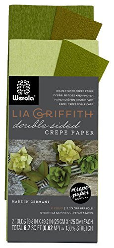 Lia Griffith Double Sided Crepe Paper Folds Roll, 6.7-Square Feet, Green Tea and Cypress, Ferns and Moss