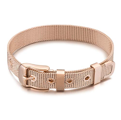 GD GOOD.designs EST. 2015 ® Buchstaben Mesh Armband Charms Anhänger (Valentinstagsgeschenk) Charmband für Damen (Rosé Armband Mesh)