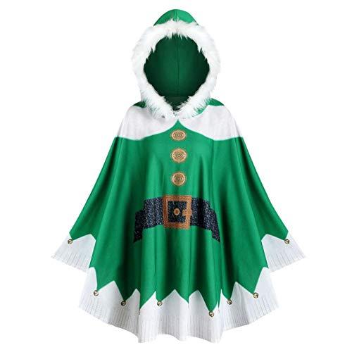 YUANCHENG Tops deMujer aJuego Capa con Capucha de Navidad Abrigo de Santa Sudadera de Manga Larga con Estampado de Mujer Blusa Informal Pullover