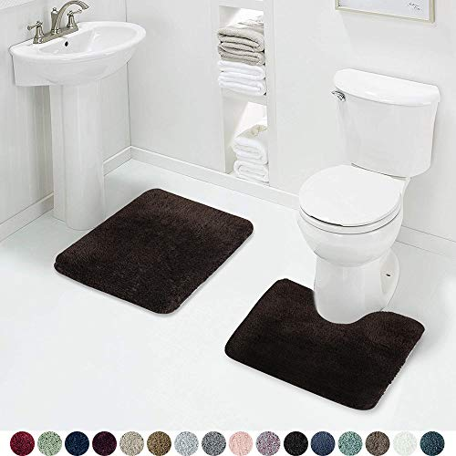 Walensee Shaggy 2 Piece Bath Rug Sets (Brown Basket) 20 x 24 U Shape Contour Rug & 20 x 32 Bathroom Rug Machine Wash/Dry Bath Mats for Bathroom Plush Absorbent Bathroom Rugs and Mats Set Non Slip