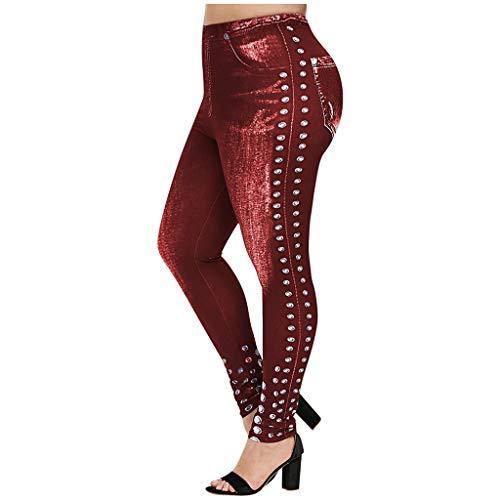 MOTOCO Damen Gamaschen Art und Weisedünne hohe Taillen Große Normallack Drucknachahmung Denim Ausdehnungs Taillen Hosen für Frauen(XL,Rot)