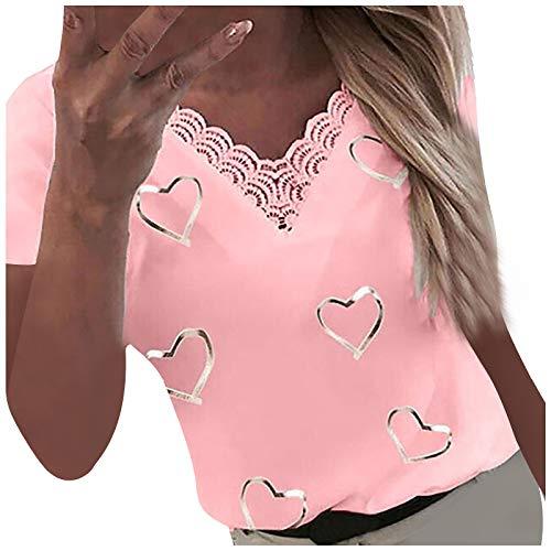 XOXSION Camiseta de verano para mujer, con estampado de corazones, cuello en V, de encaje, patchwork, de manga corta a rosa XXL