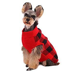 Kuoser Dog Sweater, Dog Classic Plaid Knitwear for Cold Weather Small Medium Sized Dog Turtleneck Pet Christmas Clothes Cozy Doggie Vest Dog Winter Coat Costume(XS-XL)