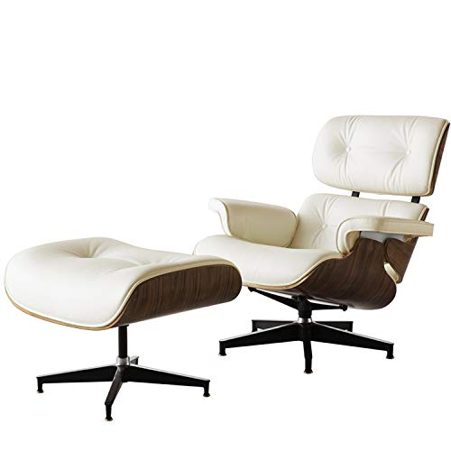 Leather Recliner with Ottoman, Mid Century Lounge Chair with Genuine Leather, Heavy Duty Aluminum Base and, 360 Degree Swivel Modern Chaise for Bedroom Living Room Office (Walnut & Ivory White)
