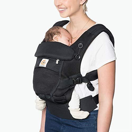 Ergobaby BCPEAPBLK Porte-bébé pour nouveau-né à partir de la naissance 3 en 1 Adapt Cool Air Mesh Porte-bébé Porte-bébé Dos Onyx Noir