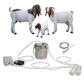 MAPOTAD 3L Goat Pulsation Vacuum Electric Milking Machine Automatic Portable Pulse Breast Pump with 2 Teat Cups Stainless Steel Bucket for Goat.
