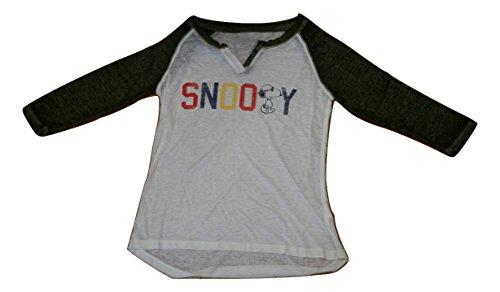 スヌーピー ピーナッツ Snoopy Peanuts Tシャツ 7分袖 レディース ガールズ サイズ感大きめ 生地薄め 白緑 (XL) [並行輸入品]