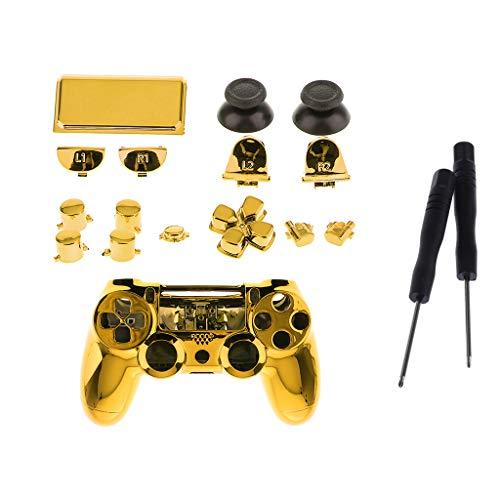 Baoblaze Juego Completo de Fundas de Piel para Kit de Herramientas de Destornillador con Botón de Controlador Sony PS4 Pro - Oro