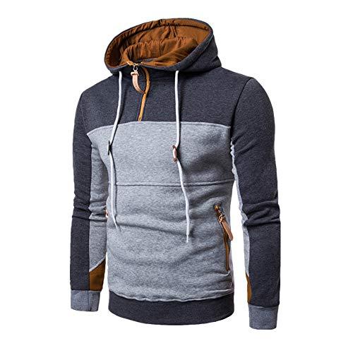 MORCHAN Manteau à la Mode Patchwork à Manches Longues pour Hommes Pull Stand Collor Pull Outwear(Large,Gris foncé)