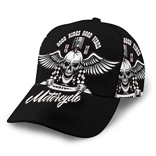 MZZhuBao Motociclista cráneo usando casco y gafas gorra de béisbol Hip Hop ajustable cómodo hermoso sombra deportes ocio hombres mujeres moda al aire libre diario fiesta negro